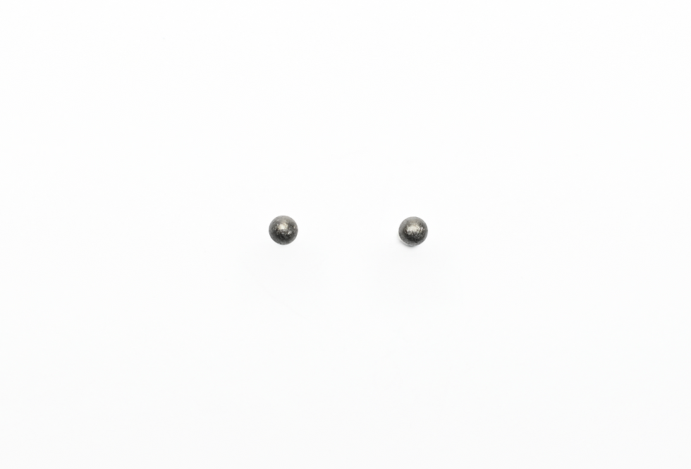 Black Rhodium Brushed Ball Earrings | 4mm