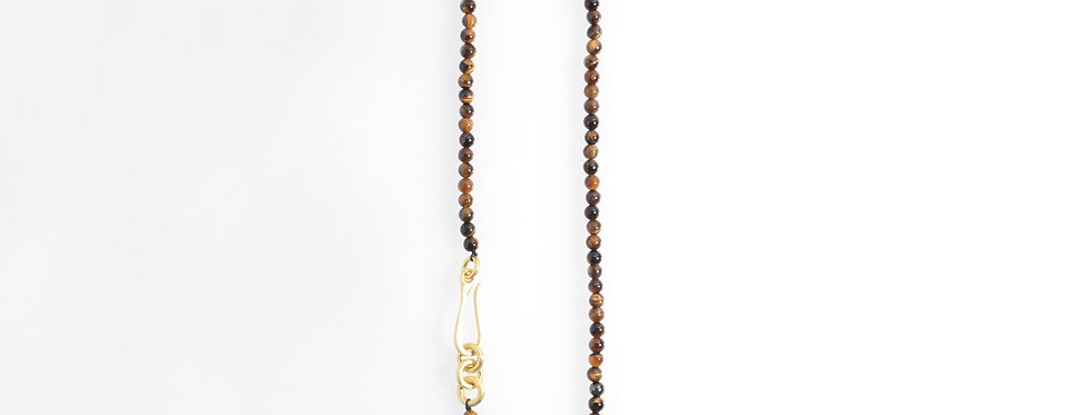 Tiger Eyes Stones Gold Plated Clasp Necklace