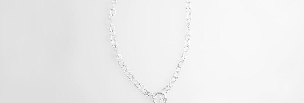 Matt Silver Ovals Necklace
