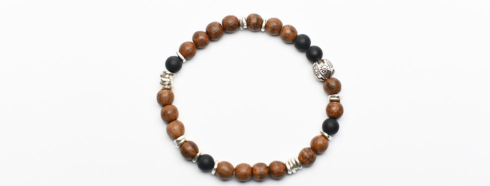 Natural wood Onyx silver bracelet