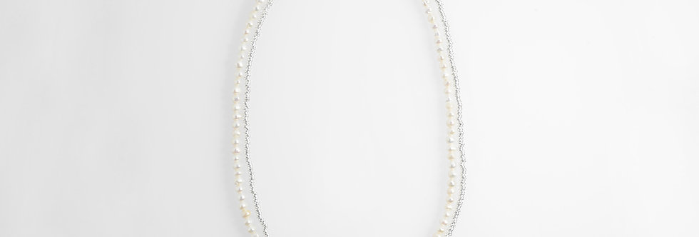 Silver Pearls Two-Tone Medium Long Necklace
