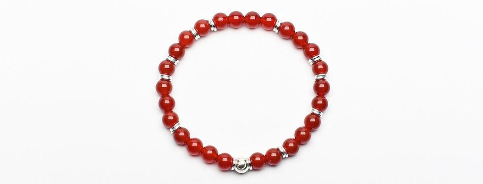 Carnelian Silver Joyful Bracelet