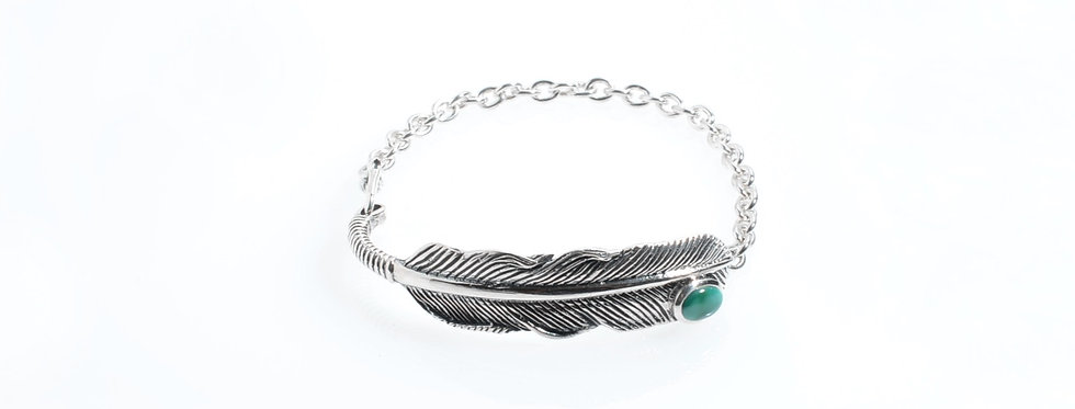 Silver Feather with Turquoise on Silver Chain Bracelet