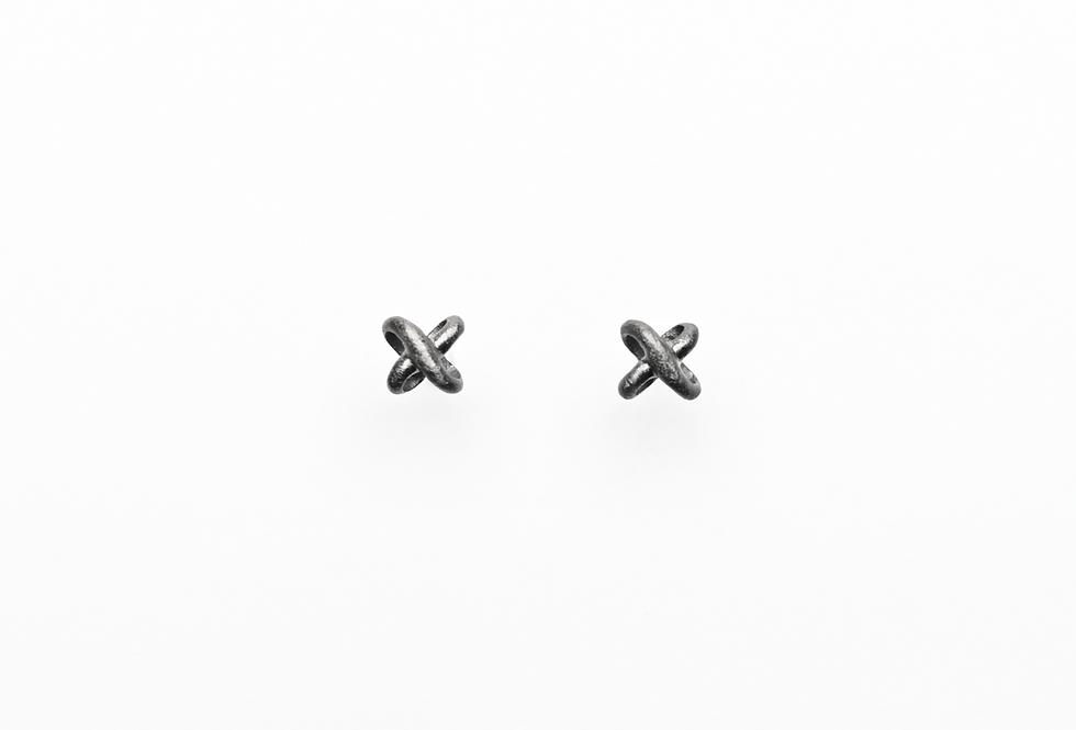 Black Rhodium Wavy 3D Cross Earrings