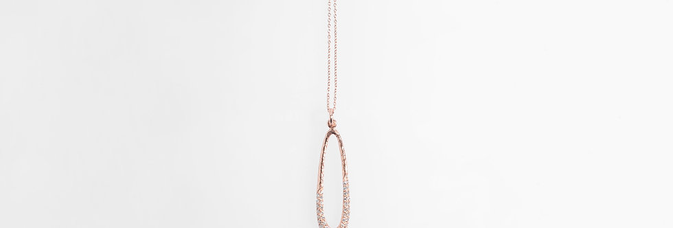 Rose Gold Plated Hammered Water Drop White Crystals Pendent on Chain