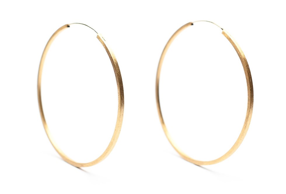 Gold Brushed Large Hoops Earrings |  60mm
