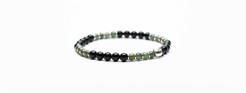 burma jade onyx silver bracelet