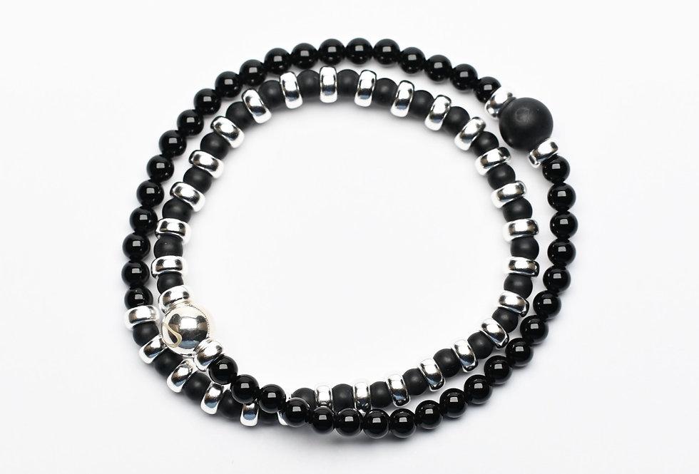 Onyx & Black Agate Double Wrap Silver Bracelet