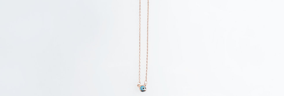 Rose Gold Plated Skinny Necklace with Blue Evil Eye