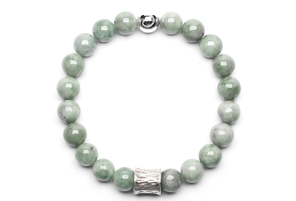 Burma Jade (8mm) Silver Ornament Bead Bracelet