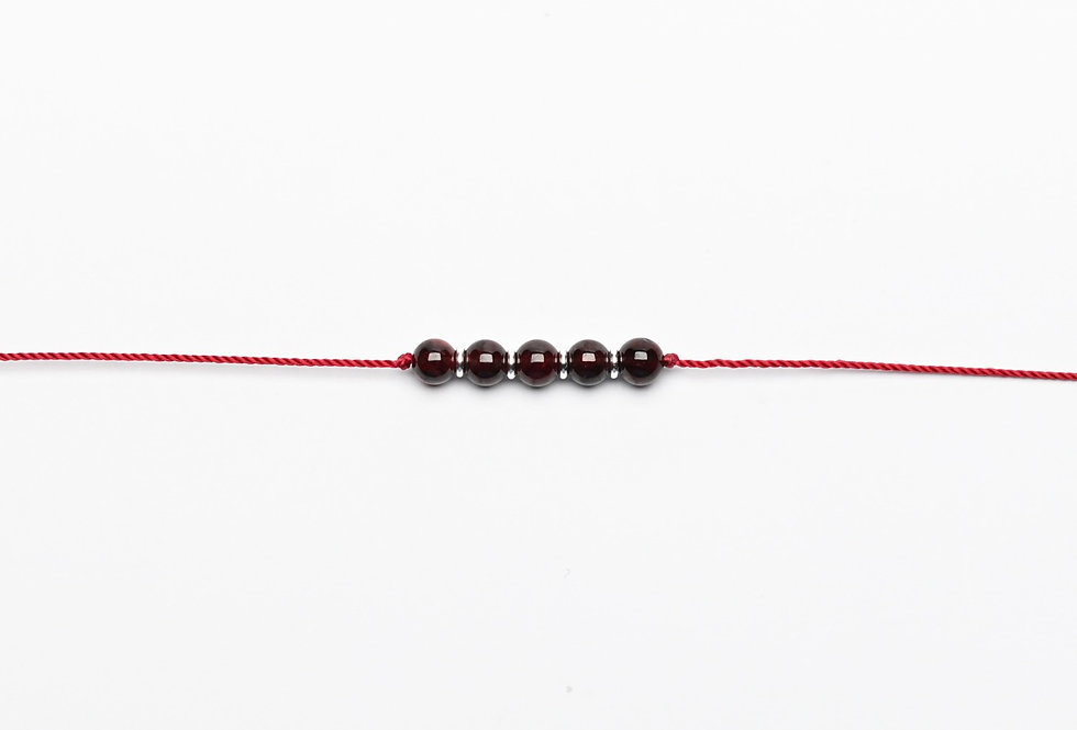 Garnet & Silver on Red Premium String Bracelet