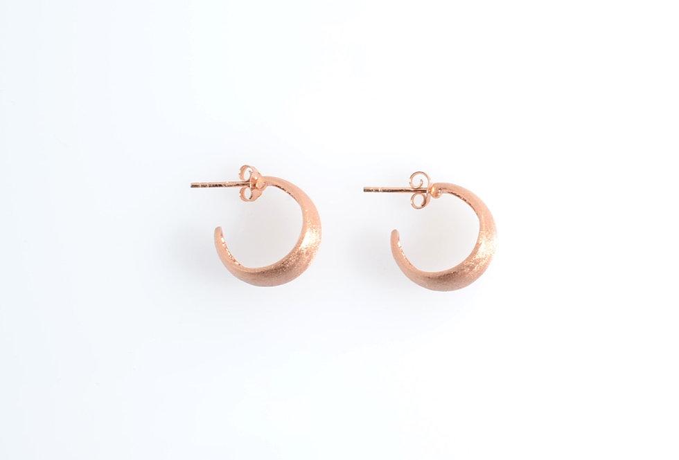 Rose Gold Crescent Moon Hoop Earrings