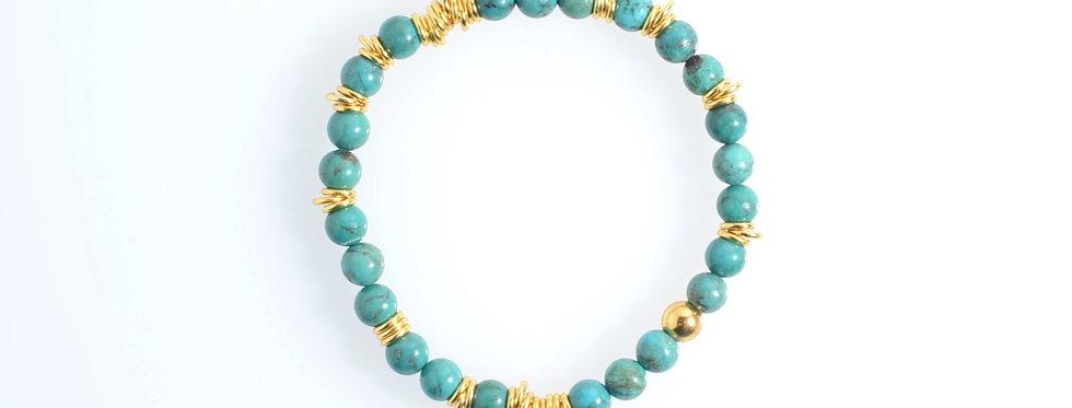 Turquoise (6mm) Random Gold Bracelet