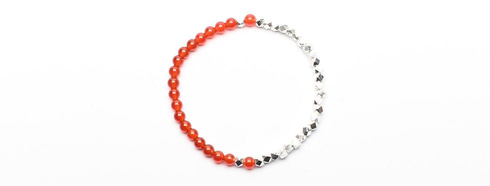 Carnelian Two-Tone Silver Bracelet