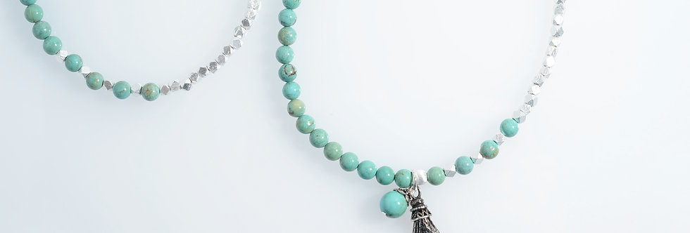 Turquoise Two-Tone Silver Beads Medium Long Necklace