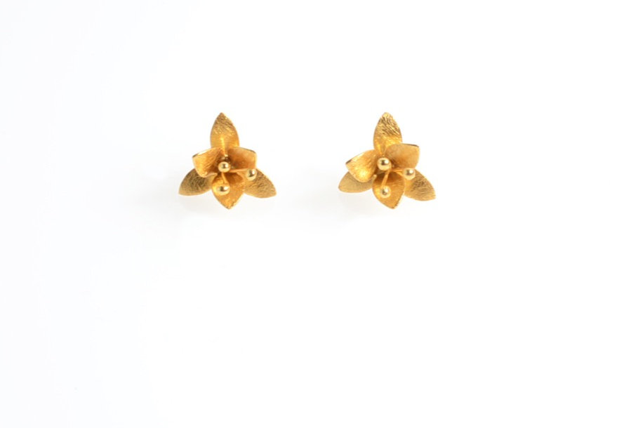 Gold Lily Design Stud Earrings