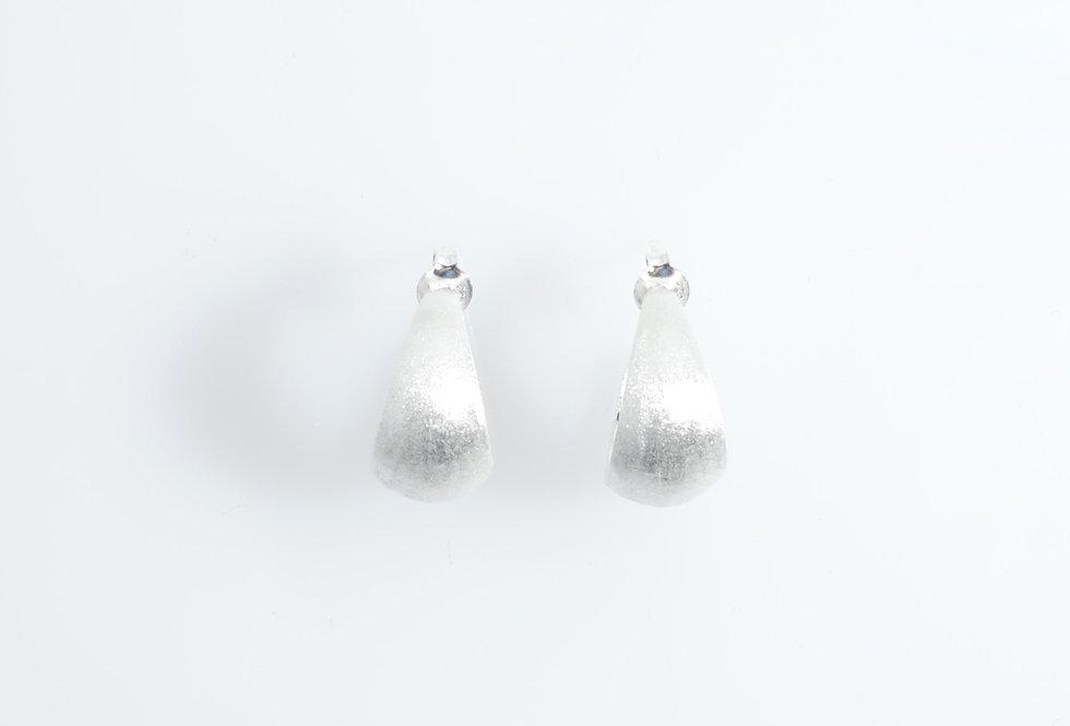 Silver Crescent Moon Hoop Earrings