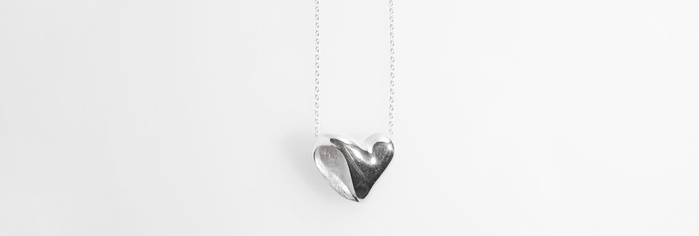 Two-Tone Silver Heart Pendant on Chain