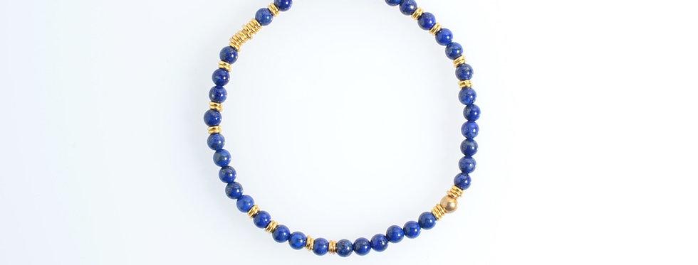 Lapis Lazuli (4mm) Random Gold Bracelet