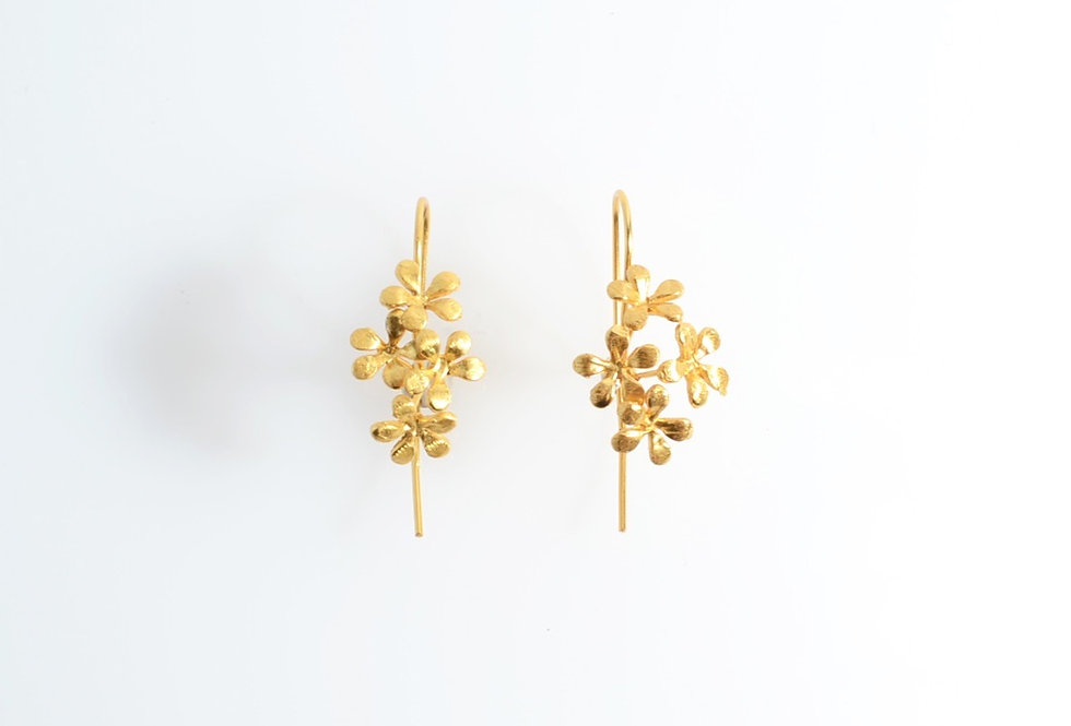 Gold Forget-me-not Design Earrings