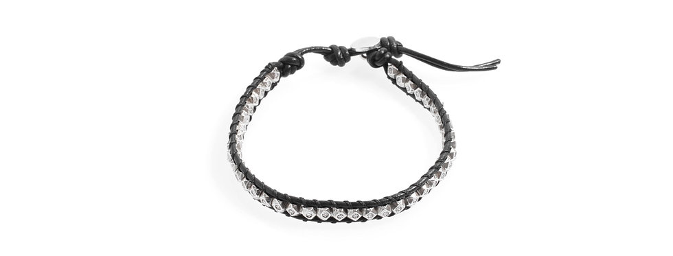 Handcrafted Silver Beads Black Leather Bracelet