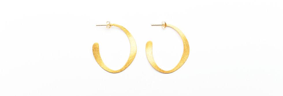 """Gold Modern """"C"""" Hoop Earrings"""