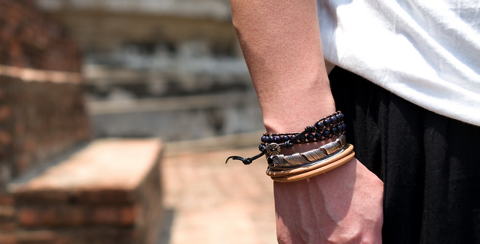Two-Tone Onyx and Hematites Double Wrap Brown Leather Bracelet