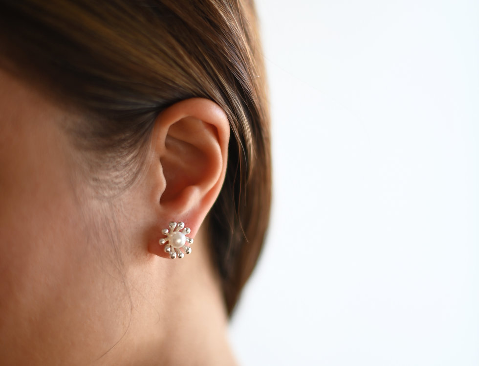 blossom pearl silver earrings