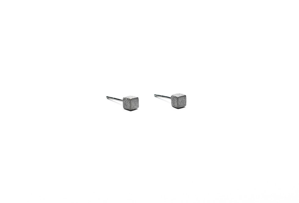 Black Rhodium Brushed Cube Earrings