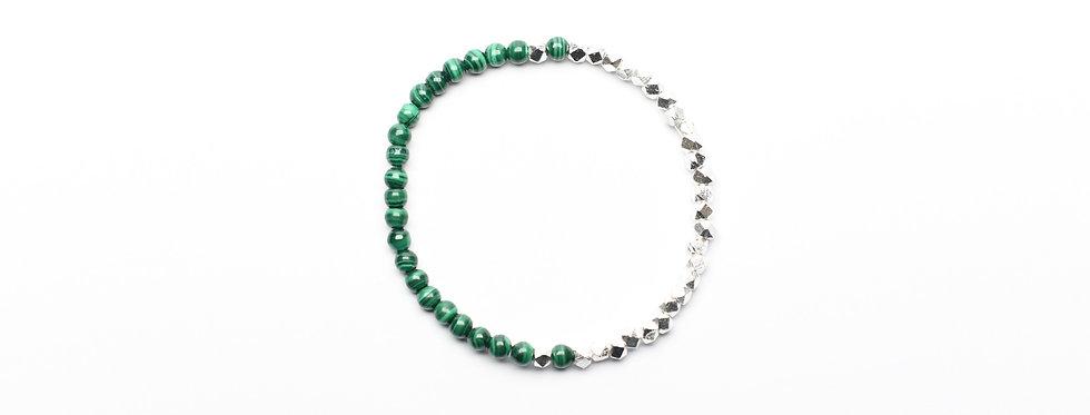 Malachite Two-Tone Silver Bracelet