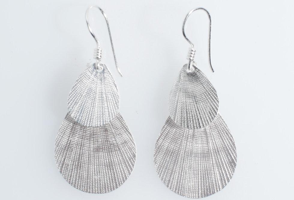 Silver Double Shells Design Earrings