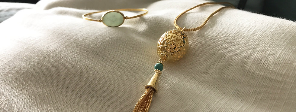 Gold Plated Lantern Tassels Pendant on Chain