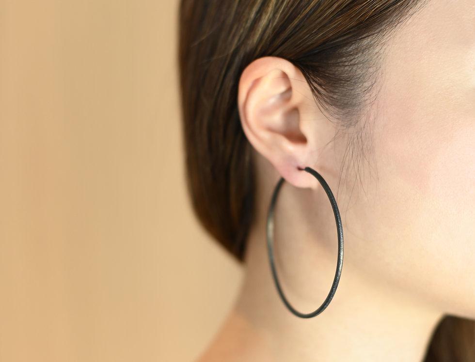 Black Rhodium Brushed Large Hoops Earrings | 70mm