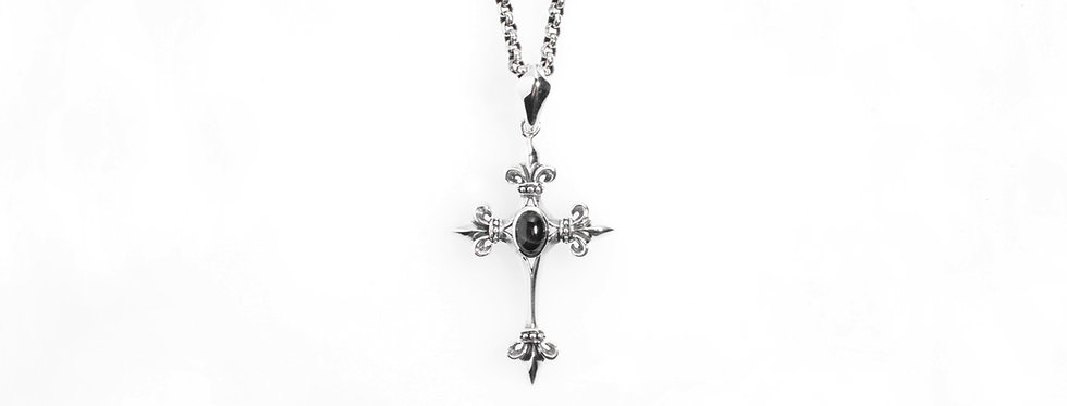Silver Gothic Cross Pendent with Black Star Sapphire on Silver Chain