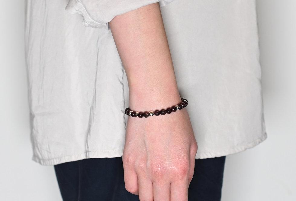 Garnet (6mm) Random Silver Bracelet