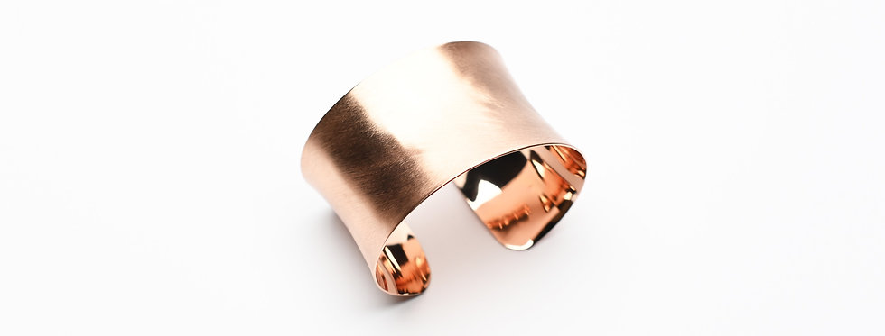 Concave Hand-Brushed Rose Gold Cuff Bracelet | Wide