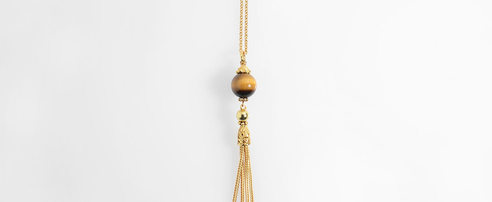 Tiger Eye Stone Gold Plated Tassels Pendant on Chain