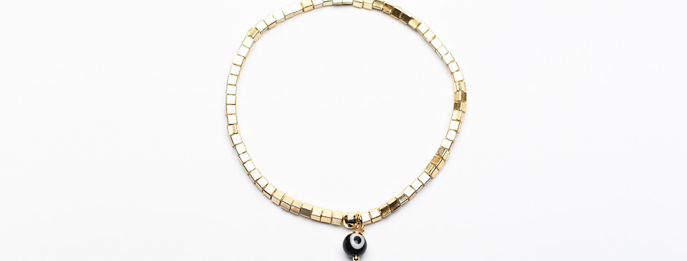 Gold Cubes Black Evil Eye Charm Bracelet