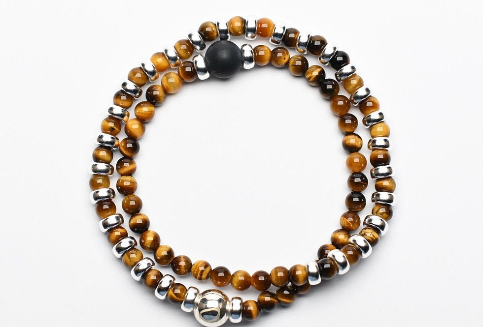 Tigereye & Black Agate Double Wrap Silver Bracelet