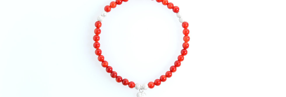 Coral Stardust Silver Charm bracelet