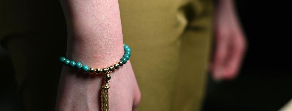 Turquoise Gold Tassel Charm Bracelet