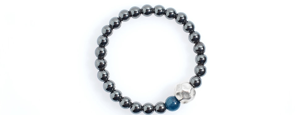 Hematite Stretched Bracelet with Handcrafted Silver Bead and Apatite Bead