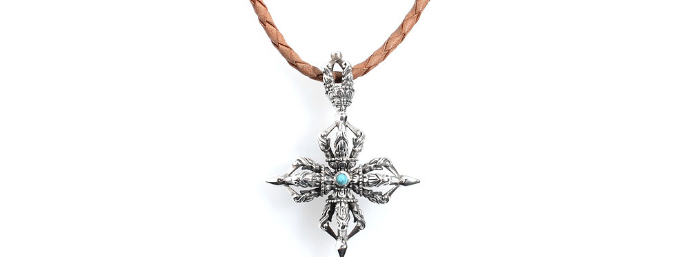 Silver Gothic Cross Pendent on Woven Leather Necklace