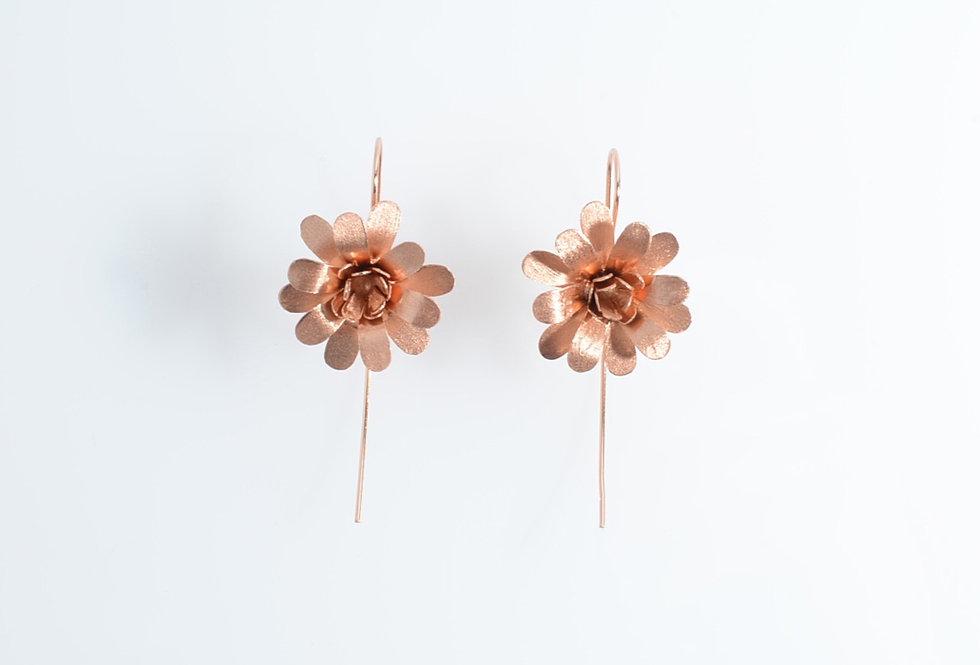 Rose Gold Daisy Drop Earrings