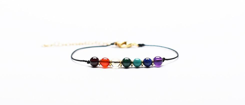 7 Chakras Rainbow | Gemstones Premium Black String Bracelet