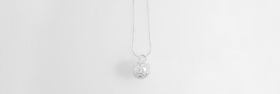 Silver Ornamental Ball Pendant on Chain