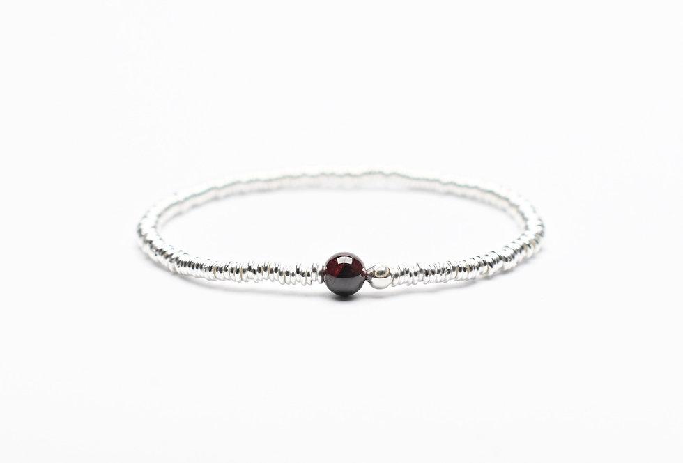 Garnet Single Stone Silver Bracelet