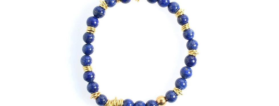 Lapis Lazuli (6mm) Random Gold Bracelet