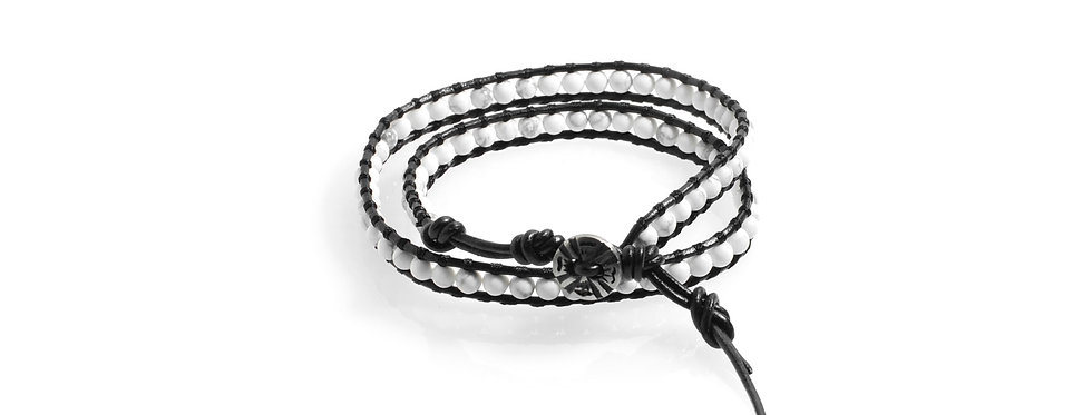 White Howlite Double Wrap Leather Bracelet