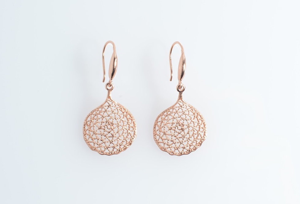 Rose Gold Floral Petal Design Earrings